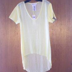 BCBG top BNWT. BCBG yellow color top with leather arms BCBGeneration Tops