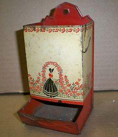 Vintage Tin Match Stick Holder Red Antique Kitchen Box Original Patina Safe | eBay