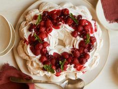 Get Holiday Berry Meringue Wreath Recipe from Food Network