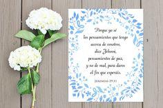 SPANISH Jeremiah 29:11/ Jeremías 29 Textos Bíblicos / Bible Verse Printable / Scripture Wall Art / Christian / Cristiano Digital