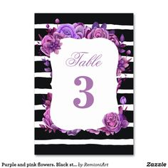 Shop Purple and pink flowers. Black striped wedding Table Number created by RemioniArt. Card Table Wedding, Wedding Table Numbers, Wedding Cards, Striped Wedding, Table Names, Black Table, Black Stripes, Pink Flowers, Create Your Own