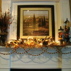 Mantle and lights for a cool fall evening