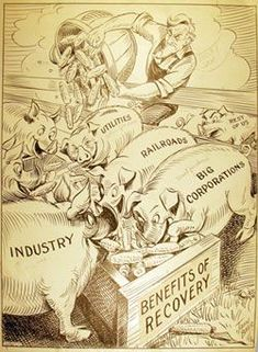 Cartoon from the Great Depression, political because, it's saying all the big business men and political men are pigs and taking all they can get there hands in or in this case eat.