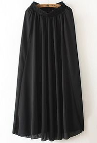 Black Elastic Waist Chiffon Pleated Skirt - this is a must have in every fashionista's wardrobe