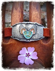 PEACE sign Winged Heart Bracelet LEATHER Cuff BRACELET by GPyoga, $35.00