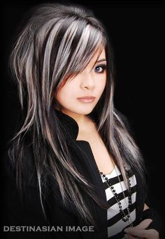"""OMG I've wanted to dye my hair silver/white since high school! I wonder how hard it would be? """"black and white silver tones..this look was inspired by the eclipse..in this color placement, you get a very convertible look . on one side you get black overlaying the white hair and if you flip it the other way you get white overlapping the black.. truly mimics the Eclipse"""" - hair by Guy Tang"""