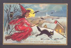 "Evil Witch ""Out for Mischief"" with Black Cat in Snow Moon Halloween Postcard 