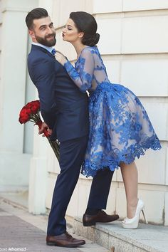 Wishesbridal Royal Blue Bateau Neck Knee Length #Lace A Line #Homecoming #Cocktail Dress Cwb0280
