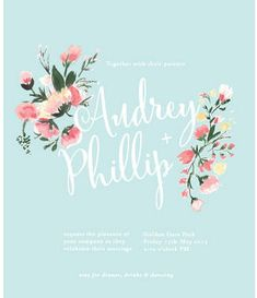 Hand Painted Floral  Wedding Invitation. Decorated with beautiful bouquets of pink and blush blooms, this powder blue wedding invitation with whimsical script text is available from Heart and Fox here. http://www.confettidaydreams.com/watercolor-wedding-invitations/