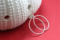 Simple Argentium Sterling Silver Earrings Circle Loop Hoop Hammered Everyday - Ella