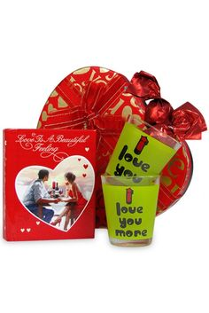 Buy Gift Hamper of Love Quotation Book, Shot Glasses, Chocolate Box and Greeting Card Online India| TrendyBharat.com