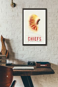 Kansas City Chiefs Headdress Art Print - KC Chiefs Vintage Style Poster - KC Chiefs AFL Print