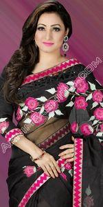 Black  Moslin Saree