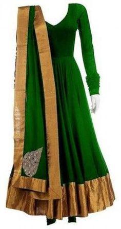 Fashion Lookbook Of SnehaS - Simple & Graceful Green Anarkali Suit | IndiaRush