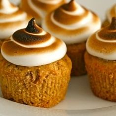 Perfect for thanksgiving: sweet potato cupcakes with toasted marshmallow frosting.