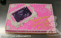 Social0213 | Baby Shower Cake | Custom photo of sonogram.  Pink cake with white accents.