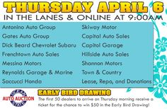 Join us in the lanes or online Thursday, April 6 at 9:00am with Antonino Auto Group, Gates Auto Group, Dick Beard Chevrolet Subaru, Frenchtown Auto Sales, Messina Motors, Kia of Old Saybrook, Reynolds Garage & Marine, Saccucci Honda, Skiway Motor, Capital Auto Sales, Hillside Auto Sales, Shannon Motors, Town & Country, CNAC, Lease, Repo, and Donations