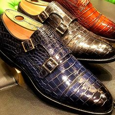 Mens Alligator Leather Double Monk Strap Loafer Hot Shoes, Men's Shoes, Dress Shoes, Shoes Men, Leather Skin, Leather Shoes, Louis Vuitton Mens Sneakers, Double Monk Strap, Formal Shoes