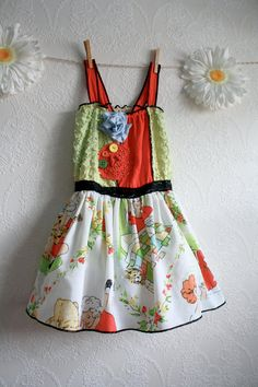 Girl's Upcycled Dress 5T Vintage Little Orphan Annie Sundress Coral Green Summer Children's Clothing 'COMIC BABY' by BrokenGhostCouture