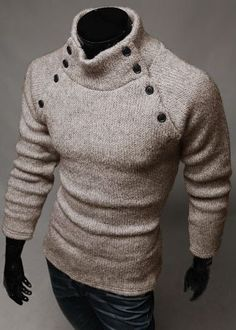 0347f824765c Diamond Watches Collection   Men s fashion symmetry button color turtleneck  sweater - Watches Topia - Watches  Best Lists