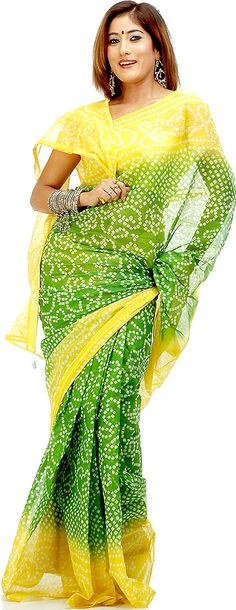 Analogous colors - yellow and green sari.