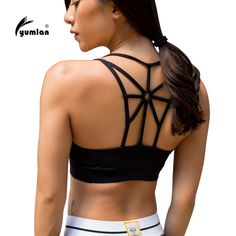 Women Fitness Sport Top High Support Cross Beautiful Back Wirefree Removable Padded Cups Yoga Sport Bra Athletic Vest Tops