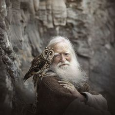 Grandfather and the owl - Elena Shumilova on Animals And Pets, Cute Animals, Wild Animals, Baby Animals, Photos Voyages, Tier Fotos, Jolie Photo, People Of The World, The Rock