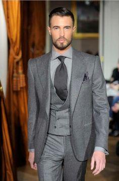 2017 Latest Coat Pant Designs Grey Tweed Suit Men Formal Skinny Prom Classic Winter Tuxedo Custom Blazer Masculino 3 Piece W65