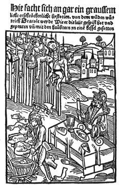 Illustrations of Vlad Dracula from German Manuscripts - This image depicts an engraving of Vlad Dracula (Vlad III) and the way he reportedly impaled people whom he conquered. It is from a German-language pamphlet, published in Strasbourg, in 1500. (Hupfuff 1500: GW12530).