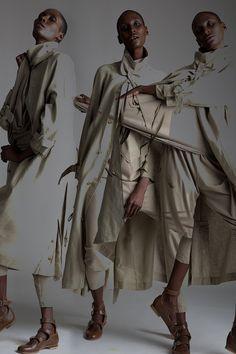 Vintage Matsuda Linen Trench Coat and Issey Miyake Plantation Top and Pants Outfit. Designer Clothing Dark Minimal Street Style Fashion