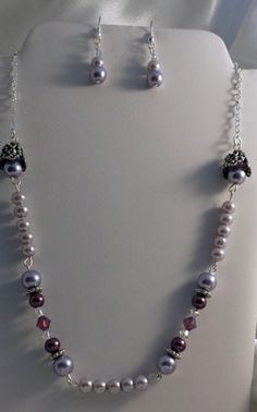 Lilac Pearl Neckace and Earring Set - Jewelry creation by K. Lynn Designs