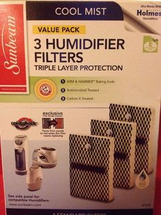 New Sunbeam SF235 3-Pack Humidifier Filters -Holmes HWF100 - Type E  #Sunbeam