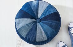 How to make an upcycled denim pouf