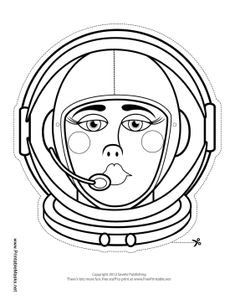 This blank female astronaut mask is ready for you to color in. You can color her astronaut helmet and suit your favorite color, and make her eyes match your own. Free to download and print