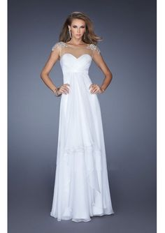 2014 A-line Sheer Top Bodice With V-back Chiffon Long Prom Dresses/ Formal Dress 20038