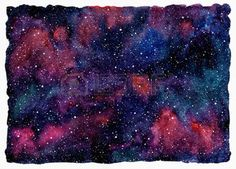 Colorful watercolor universe or night sky with stars. Beautiful cosmic rectangle background with rough, uneven edges. Black, emerald, pink, violet and blue watercolour stains. photo