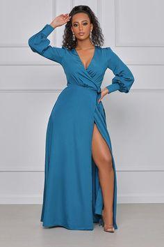 Maxi Dress With Slit, Wrap Dress, Blue Dresses, Girls Dresses, Strappy High Heels, Plunging Neckline, Fancy, Elegant, My Style