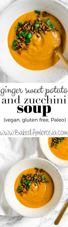 Ginger Sweet Potato and Zucchini Soup with Curried Sunflower Seeds (vegan, gluten free, Paleo)
