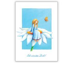 Grusskarte für Freunde: Ich vermisse Dich - http://www.1agrusskarten.de/shop/grusskarte-fur-freunde-ich-vermisse-dich/    00014_0_850, Fee, Geburtstags Blumen, Grußkarte, Kinder, kindlich, Klappkarte, romantisch, Zauber00014_0_850, Fee, Geburtstags Blumen, Grußkarte, Kinder, kindlich, Klappkarte, romantisch, Zauber