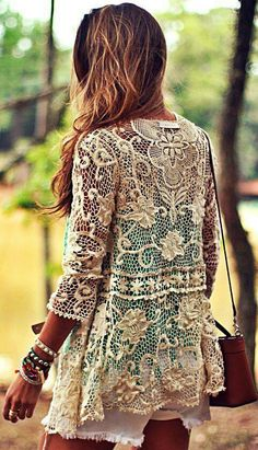 Lace jacket looks like it was made from a tablecloth and embroidery scraps can't be too hard to duplicate found on Facebook from vintage dragonfly mosaics share.