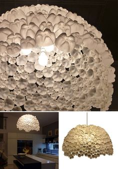 This amazing lamp was made by Sarah Turner when she was asked by the Ideal Home Show to create a large ceiling pendant from waste plastic bottles. Sarah reused 310 of the plastic bottle bases, and she used different sized plastic… Reuse Plastic Bottles, Plastic Bottle Crafts, Recycled Bottles, Recycled Lamp, Plastic Bottle Decoration, Soda Bottle Crafts, Plastic Containers, Diy Luminaire, Diy Lampe