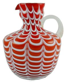 Vintage red, white, and clear blown glass water jug with an applied handle. Cut Glass, Glass Art, Glass Water Jug, Types Of Glassware, I See Red, Cranberry Glass, Water Pitchers, Glass Molds, Flower Vases