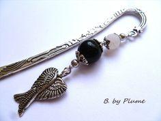 Marque-pages les ailes d'un ange - perles noires et blanches : Marque-pages par b-byplume