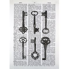 Vintage Keys on an Antique Dictionary Page