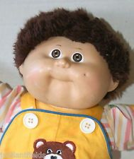 Vintage Cabbage Patch Doll Boy Short Brown Hair Yellow Overalls w Bear Kids 1982