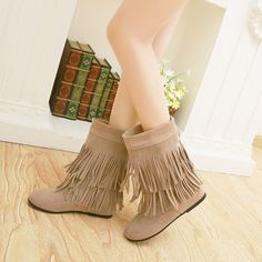 Sale 12% (37.91$) - Women Casual Boots Outdoor Tassel Round Toe Slip On Flat Shoes