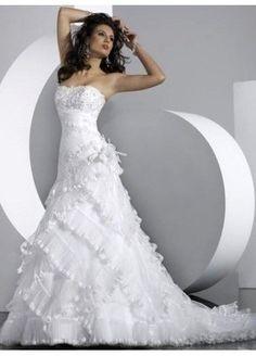 A-Line Strapless Chapel Train Chiffon Wedding Dress Brides