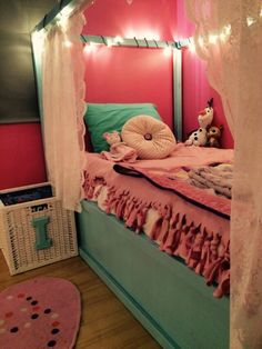 IKEA Kura bed painted with lights and curtains