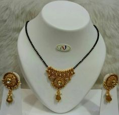 Mangalsutra with Earrings Material - Copper base Gold Plated Colour - Gold