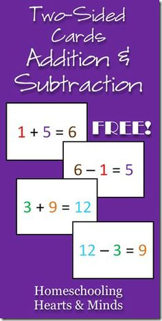 FREE Full-Color, Two-Sided, Addition/Subtraction Math Flash Cards for your Visual Learner!